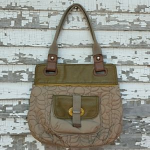 Fossil key per quilted nylon purse